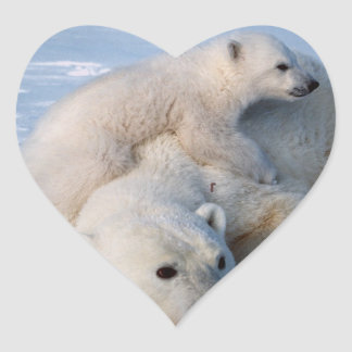Mother and Baby Polar Bears Heart Sticker
