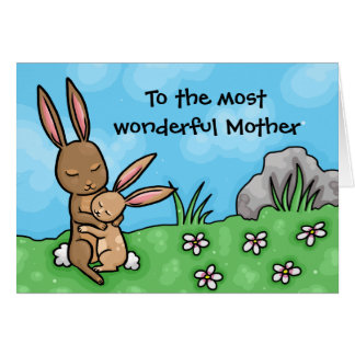 Mother and baby Rabbit Mothers day card