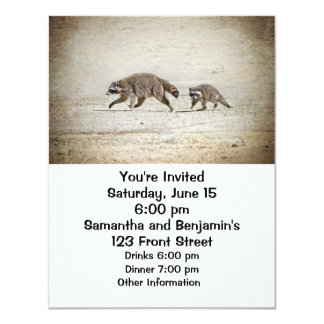 """Mother and Baby Raccoon 4.25"""" X 5.5"""" Invitation Card"""
