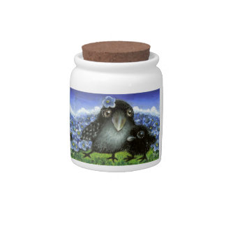 Mother and baby raven candy jars