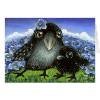 Mother and baby raven greeting card