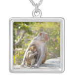Mother and baby Rhesus Macaque monkeys on wall Square Pendant Necklace