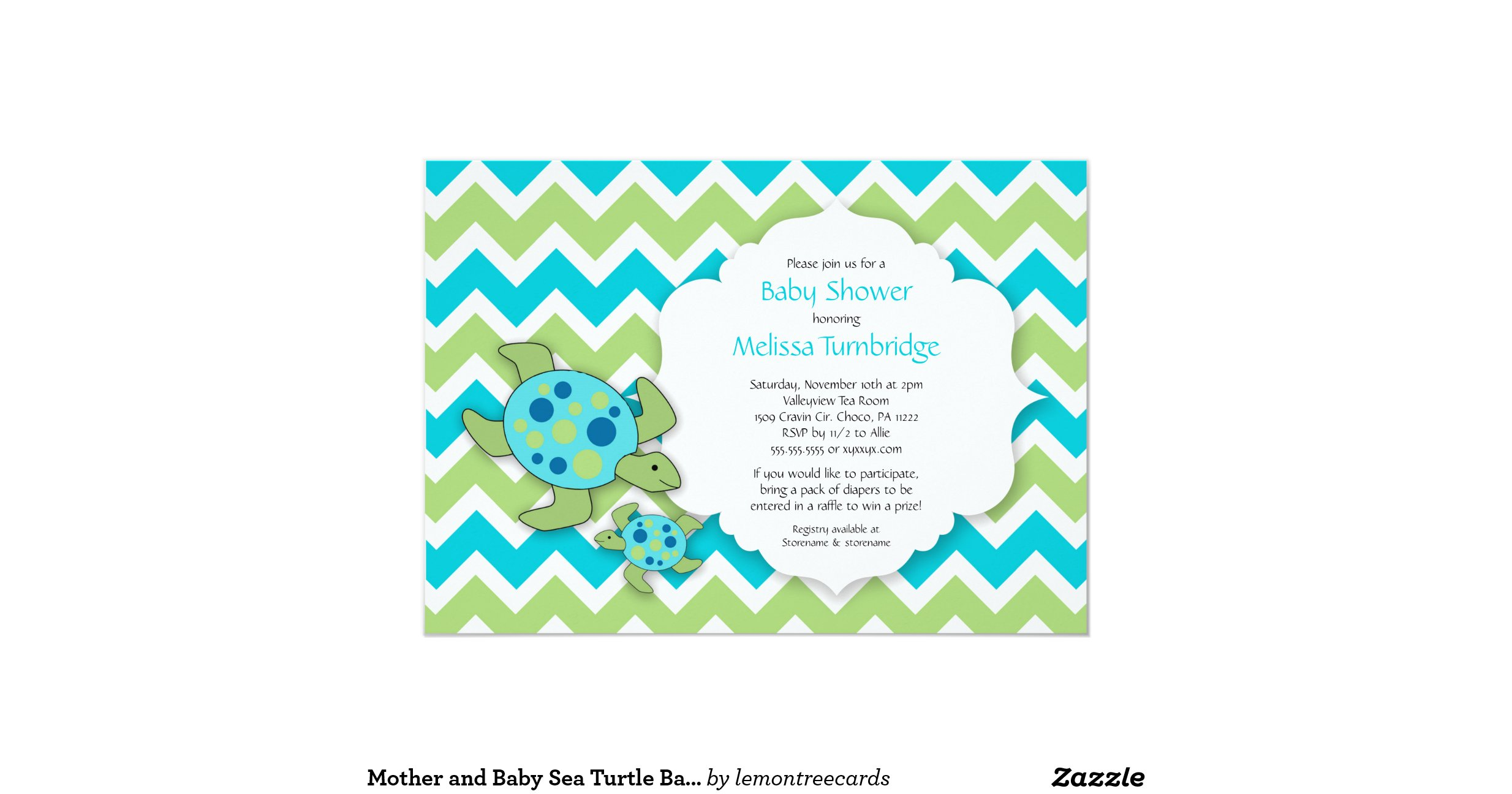 mother and baby sea turtle baby shower invites