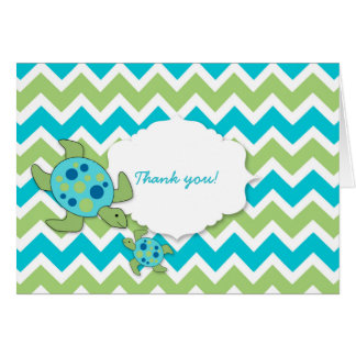 Mother and Baby Sea Turtles Boy Thank you notes Greeting Card
