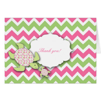 Mother and Baby Sea Turtles Girl Thank you notes Greeting Card