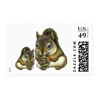 Mother and baby shquirrel postage stamps