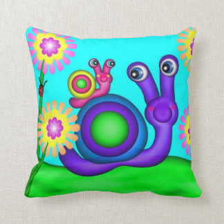 Mother and Baby Snail Throw Pillow