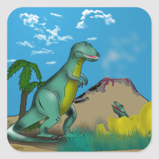 Mother and Baby T-Rex Dinosaur Square Sticker