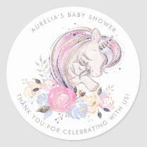Mother and Baby Unicorn Baby Shower Thank You Classic Round Sticker