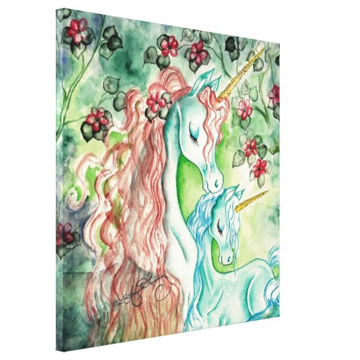 Mother and Baby Unicorn Canvas Print