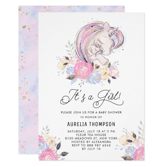 Mother And Baby Unicorn It S A Girl Baby Shower Invitation Zazzle Com