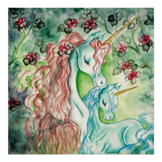 Mother and Baby Unicorn Print
