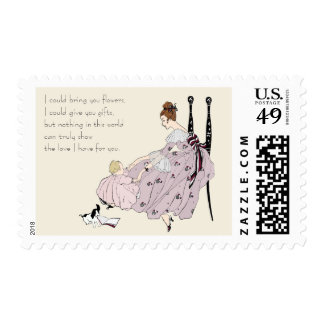 Mother and Baby Vintage Pink Lilac Postage