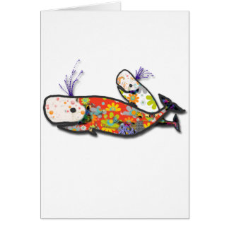Mother and baby whale card