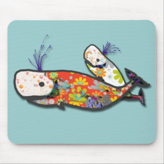 Mother and baby whale mouse pad