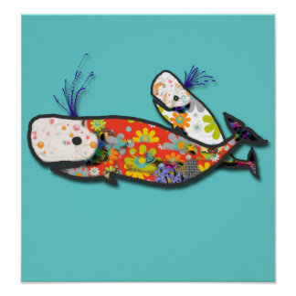 Mother and baby whale poster