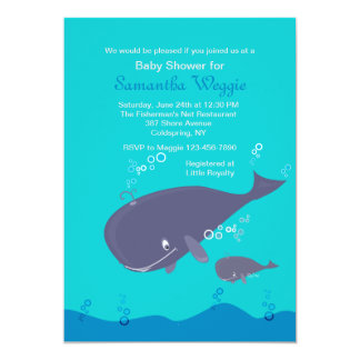 Mother and Baby Whale Shower Invitation