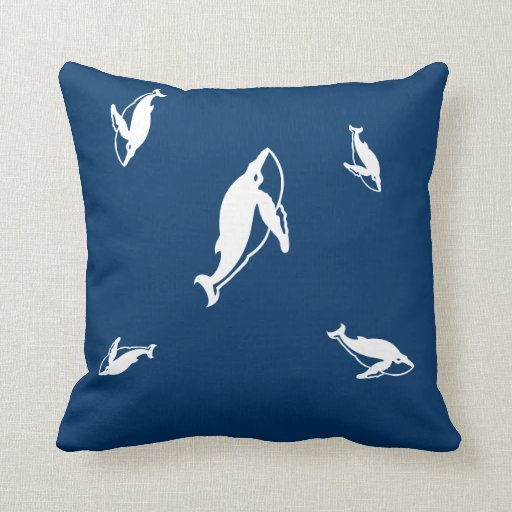 mother and baby white whale  on blue pillow