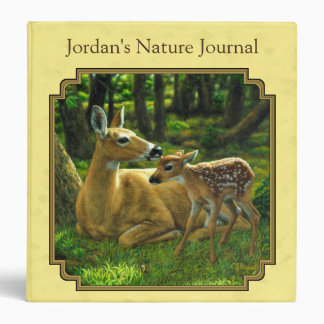 Mother and Baby Whitetail Deer Yellow Binder