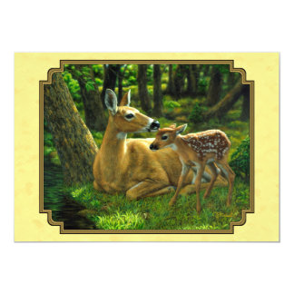 Mother and Baby Whitetail Deer Yellow Card