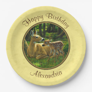 Mother and Baby Whitetail Deer Yellow Paper Plate