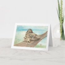 Mother and Baby Wood Duck Notecard