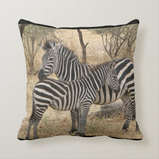 Mother and Baby Zebra Pillow