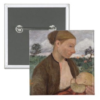 Mother and Child, 1903 2 Inch Square Button