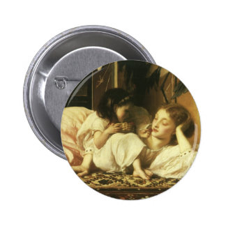 Mother and Child (aka Cherries) by Lord Leighton Pinback Button