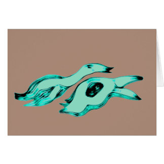 Mother and Child Alien Creatures Card