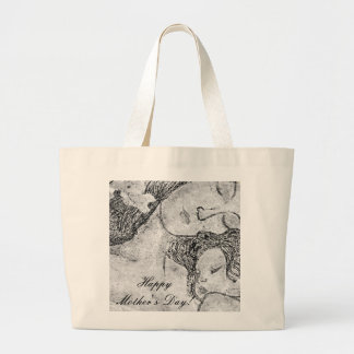 Mother and child artistic black and white bags