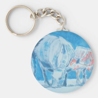 Mother and child basic round button keychain