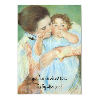 Mother and Child by Cassatt, Vintage Baby Shower 5x7 Paper Invitation Card