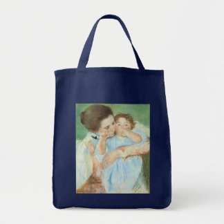 Mother and Child by Cassatt, Vintage Impressionism Grocery Tote Bag