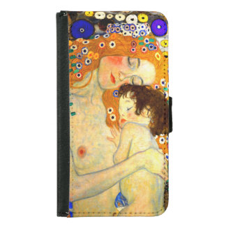 Mother and Child by Gustav Klimt Art Nouveau Wallet Phone Case For Samsung Galaxy S5