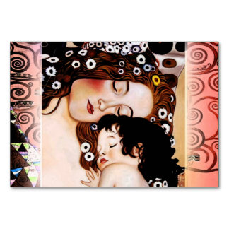 Mother and Child by Gustav Klimt Collage Table Card