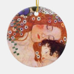 Mother and Child by Klimt Double-Sided Ceramic Round Christmas Ornament