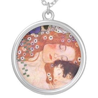 Mother and Child by Klimt Round Pendant Necklace