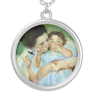 Mother and Child by Mary Cassat Round Pendant Necklace