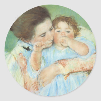 Mother and Child by Mary Cassatt, Vintage Fine Art Classic Round Sticker
