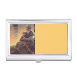 Mother and Child by Shore Business Card Holder