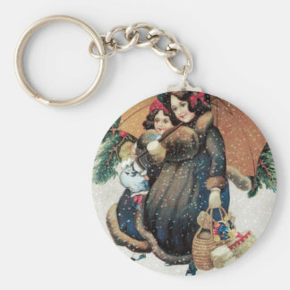 Mother and Child carrying Christmas Presents Keychain
