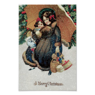 Mother and Child carrying Christmas Presents Poster