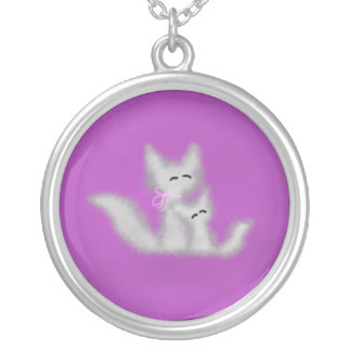 Mother and Child Foxes Round Pendant Necklace