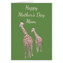 Mother and Child Giraffe Happy Mother's Day Cards