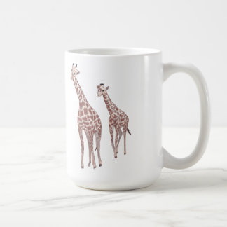 Mother and child giraffes drawing custom mugs