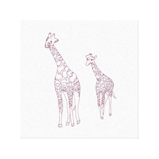 Mother and child giraffes outline drawing to paint gallery ...