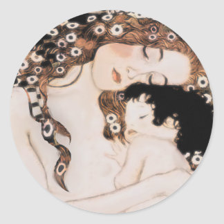 Mother and Child Gustav Klimt Classic Round Sticker