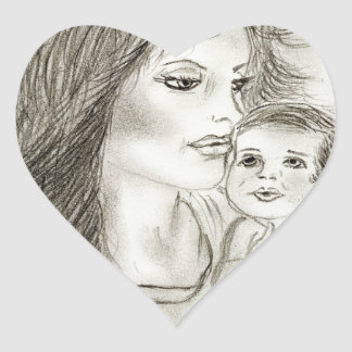 Mother and Child Heart Sticker