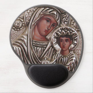 Mother and Child Icon, Madonna and Jesus in silver Gel Mouse Pad